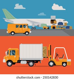 Vector set of modern creative detailed visuals on delivery and shipping logistics service in business and industry with freight cargo airplane loading, forklift loader, local shipment truck and van
