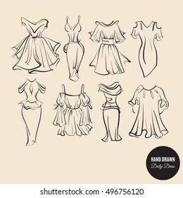 Vector set of modern dresses for women. Illustration in realistic hand drawn sketch  style. Template for business card poster banner flyer and logotype.