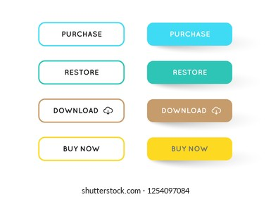 Vector Set of Modern Flat App or Game Buttons. Trendy flat colors with shadows.