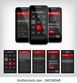 Vector set of modern flat design. Template mobile user interface. EPS10 illustration. Mobile app ui kit.