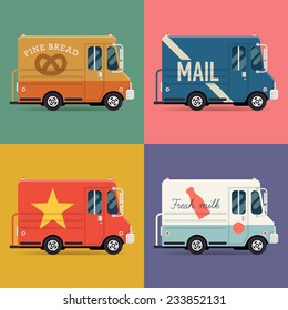 Vector set of modern flat icons on local delivery service vans | Multiple shipping service trucks such as mail truck, bakery truck and milk truck