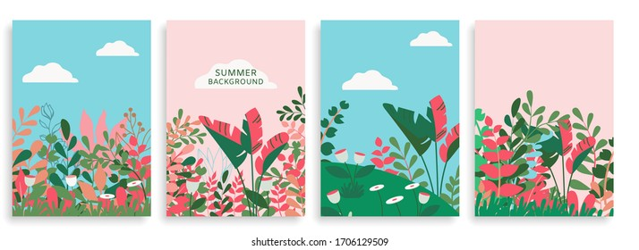 Vector Set of Modern Floral Backgrounds with Space for Text. Flower Banners for Design of Covers, Posters, Web Sites, Social Media.