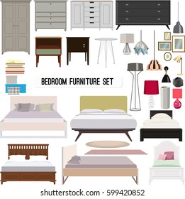 Vector set of modern furniture for bedroom in flat minimalistic design.