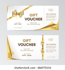 Vector set of modern gift vouchers with curved corners, golden bows and ribbons. Layout for gift cards, coupons and certificates. Isolated from the background