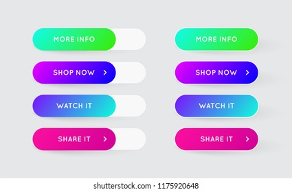 Vector Set of Modern Gradient App or Game Buttons. Trendy gradient colors with shadows.