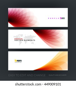 Vector set of modern horizontal website banners with red soft wave shapes for business and beauty template with beautiful overlap effect. Web headers design. Creative corporate vector flyer.