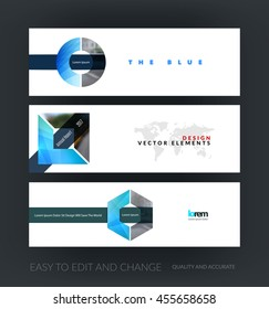 Vector set of modern horizontal website banners with circle, square; hexagon for internet with industrial growth concept. Web headers design. Creative corporate flyer.