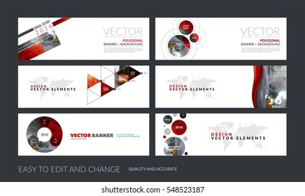 Vector set of modern horizontal website banners with red soft shapes, rounds, sphere for PR, beauty, tech, communication. Clean web headers design with overlay effect.