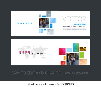 Vector set of modern horizontal website banners with colourful squares, rectangles for industry, beauty, tech, communication. Clean web headers design with overlay effect.