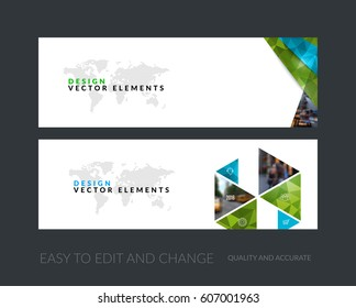 Vector set of modern horizontal website banners with green diagonal, triangular shapes for industry, beauty, tech, communication. Clean web headers design with overlay effect.