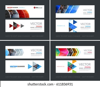 Vector set of modern horizontal website banners with colourful geometric shapes for industry, beauty, tech, communication. Clean web headers design with overlay effect.