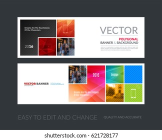 Vector set of modern horizontal website banners with red abstract rectangular shapes  for construction, teamwork, tech, communication. Clean web headers design with overlay effect.