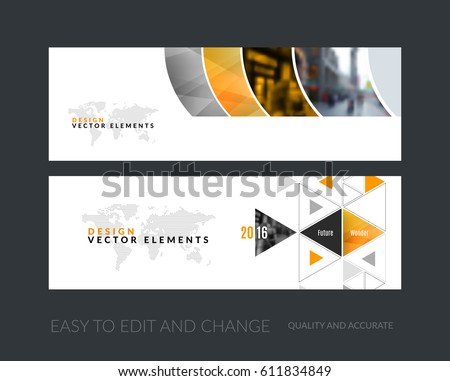 Vector set of modern horizontal website banners with yellow geometric shapes for industry, beauty, tech, communication. Clean web headers design with overlay effect.