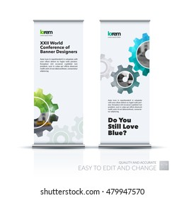 Vector set of modern roll up banner stand design with blue gear and polygonal background for engineering, construction and hi-tech. Corporate vector vertical flyer for exhibition and show.