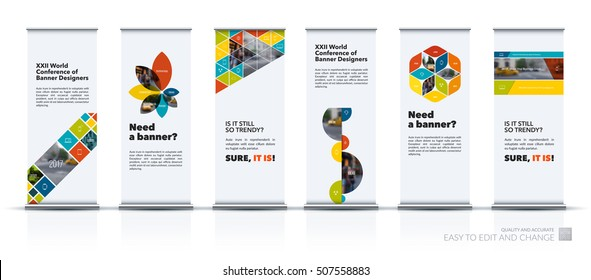 Vector set of modern roll Up Banner stand design with triangles, rectangular elements, squares, circles, flowers for business, finance. Brochure for exhibition, fair, show, fest.