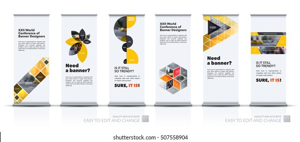 Vector set of modern roll Up Banner stand design with yellow triangles, rectangular elements, squares, circles, flowers for business, finance. Brochure for exhibition, fair, show, fest.