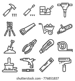 Vector Set of Modern Thin Outline Construction Working Tools and Industrial Items. Vector illustrations