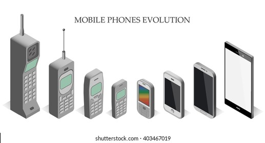 Vector set modern and vintage mobile gadgets. mobile phone  evolution vector isometric.  Mobile phone evolution vector isometric.  Isometric mobile phone template.