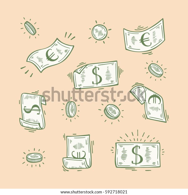 Vector Set of Money. Hand Drawn doodle Dollar and Euro Banknotes and Coins