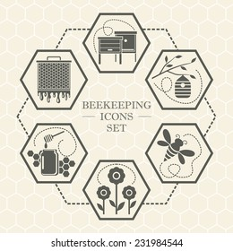 Vector set of monochrome beekeeping icons in flat style
