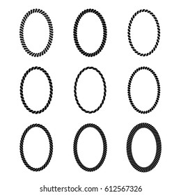 Vector set of monochrome black oval rope frame. Collection of thick and thin borders isolated on white background, consisting of braided cord. For decoration and design in marine style.