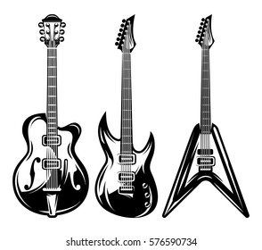 vector set of monochrome electric guitars for poster design