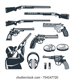 Vector set of monochrome pictures of different weapons and accessories for shooting club. Weapon rifle and gun shooting illustration