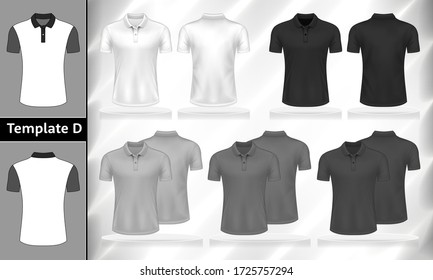 Vector set of monochrome Polo T-shirts front and back view mockup for clothes use in template design illustration.White, grey and black color men's t-shirt short sleeves isolated on background.