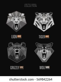 Vector set of Monochrome Trendy Low Polygon Angry Animals roaring Lion Tiger Bear Wolf mascot face head  logo icon. Modern Geometric Triangular style Animals Collection. Isolated vector