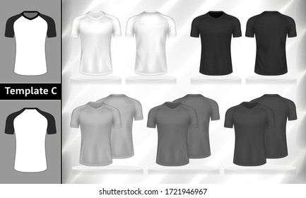 Vector set of monochrome T-shirts front and back view mockup for clothes use in template design illustration.White, grey and black color v-neck men's t-shirt with short sleeves isolated on background.