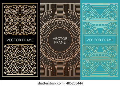 Vector set of monogram design elements in trendy vintage and mono line style with copy space for text - abstract emblem and packaging template in golden colors for luxury products