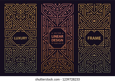 Vector set of monogram design in trendy vintage and mono line style with space for text - abstract golden geometric frames, luxury packaging templates. Use for ad, poster, card, cover. Art deco