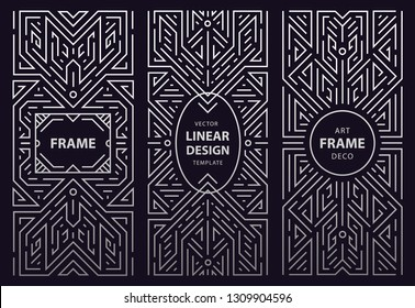 Vector set of monogram design in trendy vintage and mono line style with space for text - abstract silver geometric frames, luxury packaging templates. Use for ad, poster, card, cover. Art deco