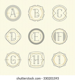 Vector set of monogram logo emblem templates in trendy outline style. Letters A - I.