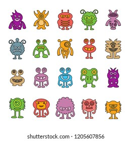 vector set of monster cartoon icons, color design