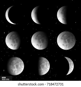 Vector set of moon phases