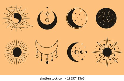 Vector set of moon, sun, clouds, stars and constellations. Mystical magic elements for logo, highlights, sites, icons or packing. Minimal collection of linear sun and moon. Vector illustration.