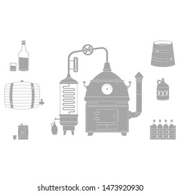 vector set with moonshine icons