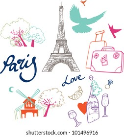 Vector set of the most romantic city in the world - Paris.