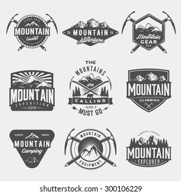 vector set of mountain exploration vintage logos, emblems, silhouettes and design elements. logotype templates and badges with mountains, forest, trees, tent, ice axe. outdoor activity symbols
