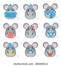 Vector set mouse in warm clothes with different subjects: cheese, hat, scarf, gift, heart, bow. Cartoon cute illustration