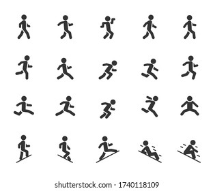 Vector set of movement people flat icons. Contains icons walking, running, jumping, climbing, descending, gait and more. Pixel perfect.