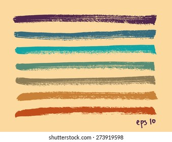 Vector set of multicolor hand drawn dry brush lines on yellow background. Artistic design elements collection