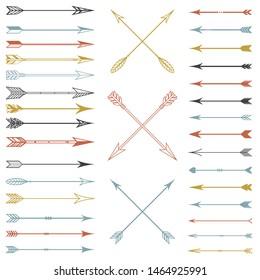 Vector set of multicolored arrows, vintage, retro