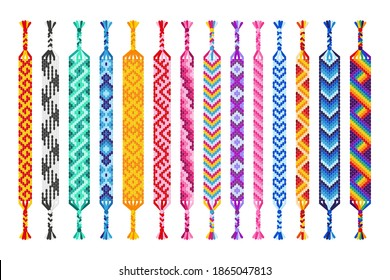Vector set of multi-colored handmade hippie friendship bracelets of threads isolated on white background. Macrame normal pattern.