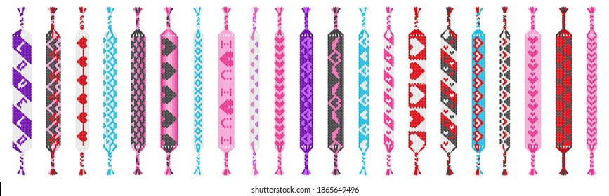 Vector set of multi-colored handmade hippie friendship bracelets of threads isolated on white background. Macrame normal pattern. Valentine's day and free love