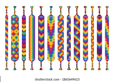 Vector set of multi-colored handmade hippie friendship bracelets of threads isolated on white background. Macrame normal pattern. Pride parade, LGBT and free love.