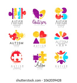 Vector set of multi-colored logo for Autism Awareness Day. Design for postcards, wellness centers, organizations helping people with Down Syndrome