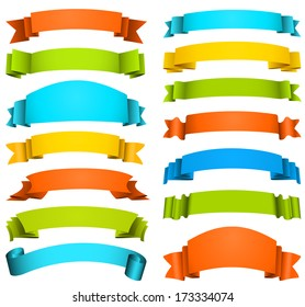 Vector set of multicolored ribbons.