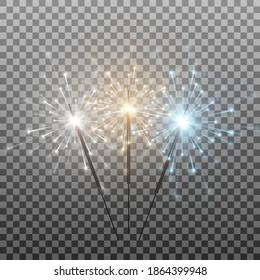 Vector set of multicolored sparklers. Bengal lights png, sparks, fireworks. Flash a lawsuit, burning lights. Christmas lights.